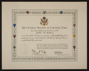 General Society of Colonial Wars membership certificate