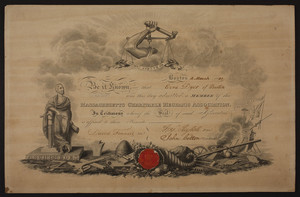 Massachusetts Charitable Mechanic Association membership certificate