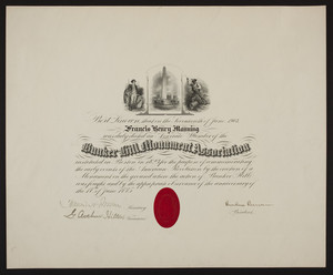 Bunker Hill Monument Assocation membership certificate, 1903