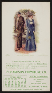 Trade card for the Richardson Furniture Co., 190-B Friend Street, Boston, Mass., April, 1911