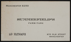 Trade card for Summerfield's furniture, 870 Elm Street, Manchester, New Hampshire, undated
