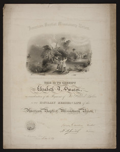 American Baptist Missionary Union membership certificate, 1873