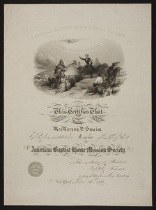 American Baptist Home Mission Society membership certificate, 1891