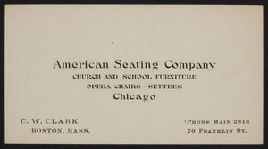 Business card for the American Seating Company, church and school furniture, opera chairs, settees, Chicago, Illinois, undated