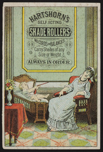 Trade card for Hartshorn's Self Acting Shade Rollers, Hartshorn's Baby Primer, 486 Broadway, New York, New York and 512 Washington Street, Boston, Mass., undated