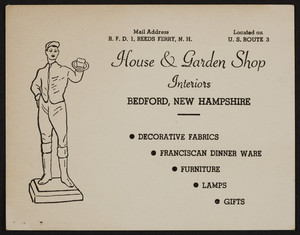 Trade card for the House & Garden Shop, interiors, Bedford, New Hampshire, undated