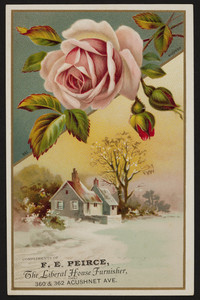 Trade card for F.E. Peirce, The Liberal House Furnisher, 360 & 362 Acushnet Avenue, New Bedford, Mass., undated