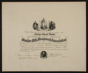 Bunker Hill Monument Association membership certificate, 1897