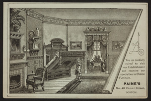 Trade card for Paine's Furniture Manufactory, 48 Canal Street, Boston, Mass., undated