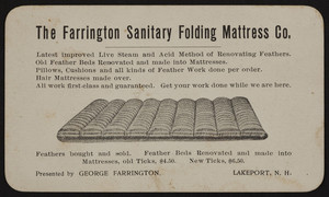 Trade card for The Farrington Sanitary Folding Mattress Co., Lakeport, New Hampshire, undated