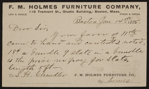 Postcard for the F.M. Holmes Furniture Company, 116 Tremont Street, Boston, Mass, dated January 14, 1885