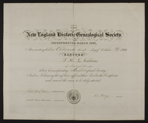 New England Historic Genealogical Society membership certificate