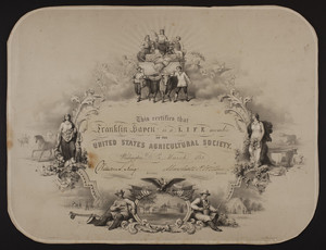 United States Agriculture Society membership certificate
