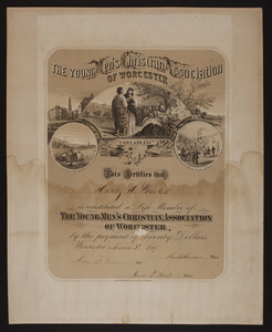 Young Men's Christian Association of Worcester membership certificate