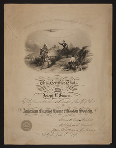 American Baptist Home Mission Society membership certificate, 1870s