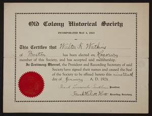 Old Colony Historical Society membership certificate