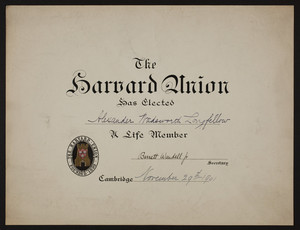 Harvard Union membership certificate