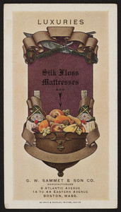 Trade card for silk floss mattresses, G.W. Sammet & Son Co., 8 Atlantic Avenue, 14 to 44 Eastern Avenue, Boston, Mass., undated