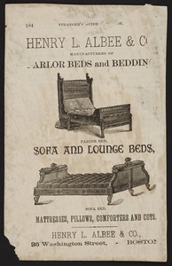 Advertisement for Henry L. Albee & Co., manufacturers of parlor beds and bedding, sofa and lounge beds, 36 Washington Street, Boston, Mass., ca. 1825