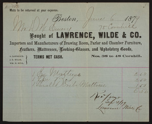 Billhead for Lawrence, Wilde & Co., importers and manufacturers of drawing room, parlor and chamber furniture, Nos. 38 to 48 Cornhill, Boston, Mass., dated June 6, 1879