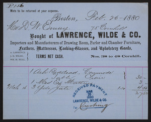 Billhead for Lawrence, Wilde & Co., importers and manufacturers of drawing room, parlor and chamber furniture, Nos. 38 to 48 Cornhill, Boston, Mass., dated February 26, 1880