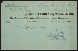 Billhead for Lawrence, Wilde & Co., manufacturers of first-class furniture and interior decorations, Nos. 38 to 48 Cornhill, Boston, Mass., dated October 10, 1883