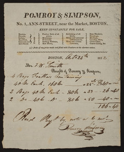 Billhead for Pomroy & Simpson, feather beds, mattresses, bedding, No. 1 Ann Street, near the Market, Boston, Mass., dated October 24, 1812