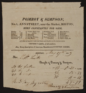 Billhead for Pomroy & Simpson, feather beds, mattresses, bedding, No. 1 Ann Street, near the Market, Boston, Mass., dated May 27, 1813