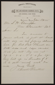 Letterhead for Small Brothers, manufacturers of fine and medium chamber suits and general case work, Melrose, Mass., dated January 17, 1885