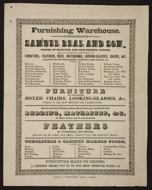 Circular for Samuel Beal and Son, furnishing warehouse, corner of Hanover and Elm Streets, Boston, Mass., undated