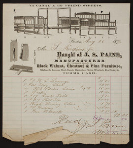 Billhead for J.S. Paine, manufacturer and wholesale dealer in black walnut, chestnut & pine furniture, 44 Canal & 137 Friend Streets, Boston, Mass., dated August 26, 1871