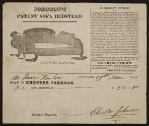 Billhead for Chester Johnson, Johnson's Patent Sofa Bed, 188 Grand Street, New York, New York, dated November 29, 1833