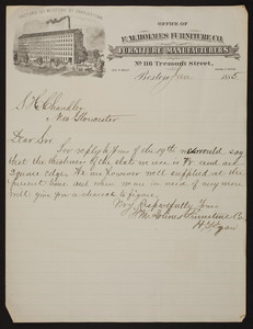Letterhead for F.M. Holmes Furniture Co., furniture manufacturers, No. 116 Tremont Street, Boston, Mass., dated January, 1885