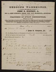 Billhead for John K. Simpson, Jr., bedding warehouse, No. 1 Ann Street, near the Old Market, Boston, Mass., dated May 5, 1835