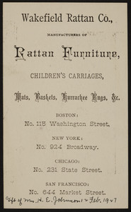 Trade card for the Wakefield Rattan Co., manufacturers of rattan furniture, No. 115 Washington Street, Boston, Mass., undated