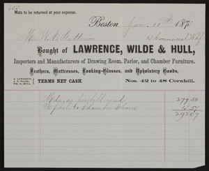 Billhead for Lawrence, Wilde & Hull, drawing room, parlor, and chamber furniture, Nos. 42 to 48 Cornhill, Boston, Mass., dated January 11, 1873