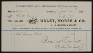 Billhead for Haley, Morse & Co., furniture and interior decorations, 411 Washington Street, Boston, Mass., dated January 26, 1875
