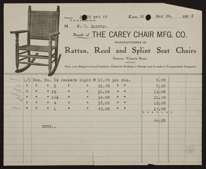 Billhead for The Carey Chair Mfg. Co., rattan, reed, and splint seat chairs, Victoria Street, Keene, New Hampshire, dated May 24, 1922