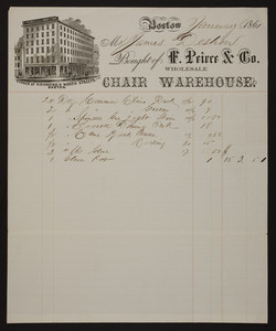 Billhead for F. Peirce & Co., wholesale chair warehouse, corner of Richmond & North Streets, Boston, Mass., dated January 8, 1861