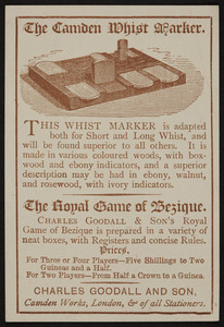 Trade card for The Camden Whist Marker, Charles Goodall and Son, Camden Works, London, United Kingdom, undated