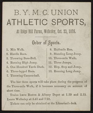 B.Y.M.C. Union athletic sports at Ridge Hill Farms, Wellesley, Mass., October 23, 1875