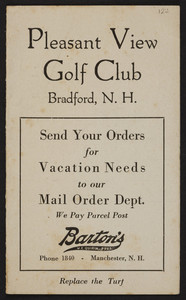 Golf card for the Pleasant View Golf Club, Bradford, New Hampshire, undated