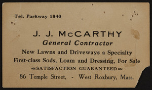 Trade card for J.J. McCarthy, general contractor, 86 Temple Street, West Roxbury, Mass., 1920-1940
