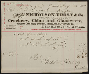 Billhead for Nicholson, Frost & Co., crockery, china, and glassware, 137 & 139 Milk and 2 & 4 Oliver Streets, Boston, Mass., dated August 30, 1879