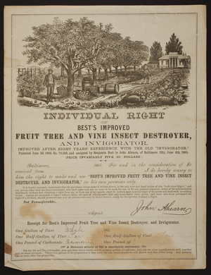 Individual right of Best's Improved Fruit Tree and Vine Insect Destroyer and Invigorator, J. Ahearn, Marble Building, No. 5 Post Office Avenue, Baltimore, Maryland, 1869