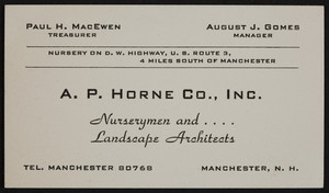 Business card for A.P. Horne Co., Inc., nurserymen and landscape architects, Manchester, New Hampshire, undated