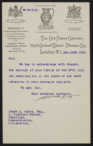 Letterhead for Mortlocks Ltd., The Old Pottery Galleries, 31 & 32 Orchard Street, Portman Square, London, United Kingdom, dated November 10, 1922