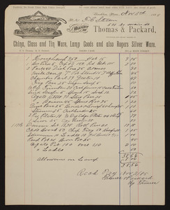 Billhead for Thomas & Packard, glassware, No. 41 Main Street, Brockton, Mass., dated November 3, 1885