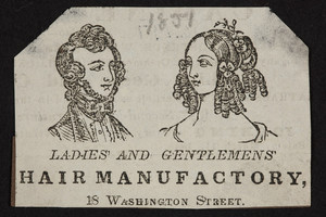 Advertisement for Ladies' and Gentlemens' Hair Manufactory, 18 Washington Street, Boston, Mass., 1851