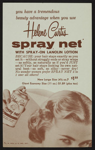 Order form for Helene Curtis Spray Net, location unknown, undated